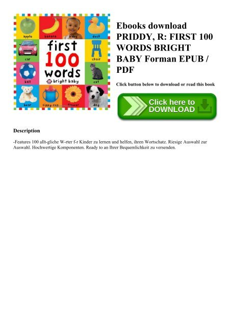 Ebooks download PRIDDY R FIRST 100 WORDS BRIGHT BABY Forman