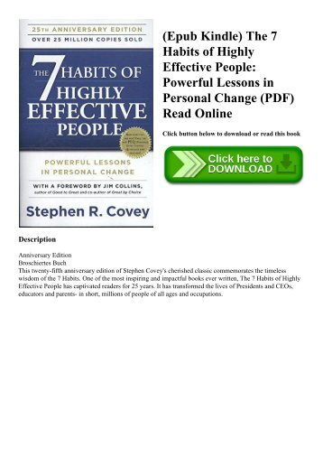 (Epub Kindle) The 7 Habits of Highly Effective People Powerful Lessons in Personal Change (PDF) Read Online