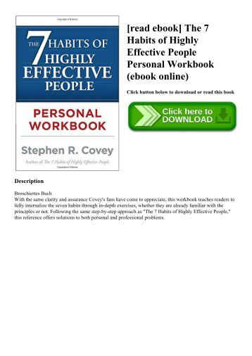 [read ebook] The 7 Habits of Highly Effective People Personal Workbook (ebook online)