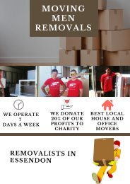 Moving Men Removals - One of the Renowned Removalists in Essendon