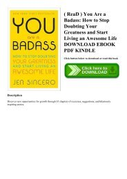 ( ReaD ) You Are a Badass How to Stop Doubting Your Greatness and Start Living an Awesome Life DOWNLOAD EBOOK PDF KINDLE