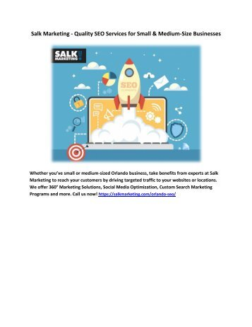 Salk Marketing - Quality SEO Services for Small and Medium-Size Businesses