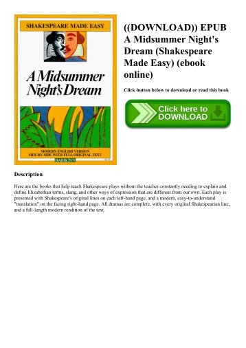 ((DOWNLOAD)) EPUB A Midsummer Night's Dream (Shakespeare Made Easy) (ebook online)