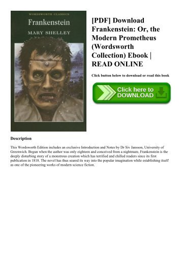 Frankenstein Or The Modern Prometheus Pdf