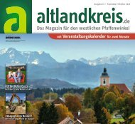 Altlandkreis Ausgabe September/Oktober 2018 - Das Magazin für den westlichen Pfaffenwinkel