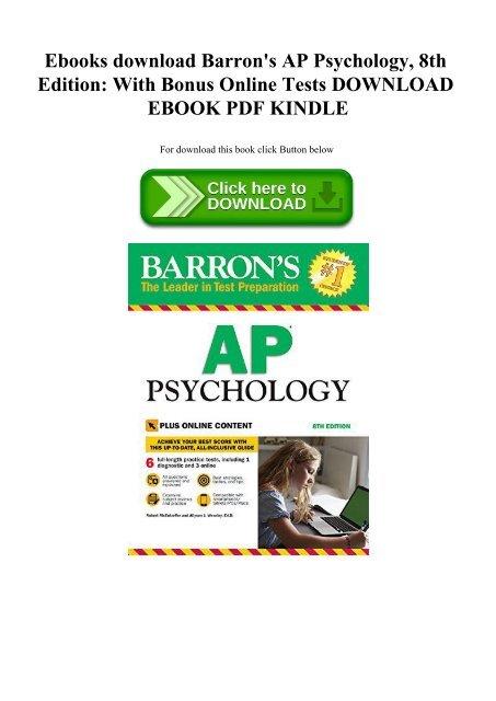 Ebooks Download Barron S Ap Psychology 8th Edition With Bonus Online