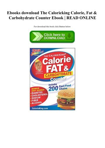 Ebooks download The Calorieking Calorie  Fat & Carbohydrate Counter Ebook  READ ONLINE