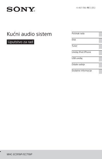 Sony MHC-EC719iP - MHC-EC719IP Istruzioni per l'uso Bosniaco