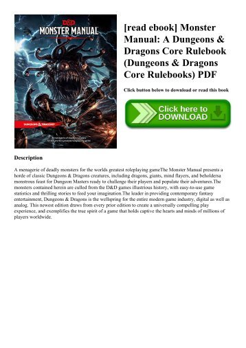 [read ebook] Monster Manual A Dungeons & Dragons Core Rulebook (Dungeons & Dragons Core Rulebooks) PDF