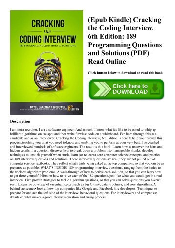 (Epub Kindle) Cracking the Coding Interview  6th Edition 189 Programming Questions and Solutions (PDF) Read Online