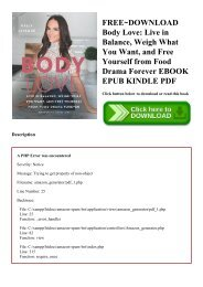 FREE~DOWNLOAD Body Love Live in Balance  Weigh What You Want  and Free Yourself from Food Drama Forever EBOOK EPUB KINDLE PDF