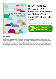 DOWNLOAD Just Between Us A No-Stress  No-Rules Journal for Girls and Their Moms PDF Ebook Full Series