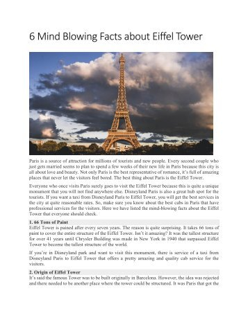 6 Mind Blowing Facts about Eiffel Tower