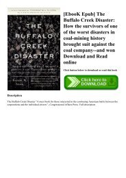 [EbooK Epub] The Buffalo Creek Disaster How the survivors of one of the worst disasters in coal-mining history brought suit against the coal company--and won Download and Read online