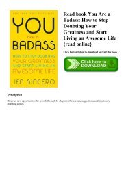 Read book You Are a Badass How to Stop Doubting Your Greatness and Start Living an Awesome Life {read online}