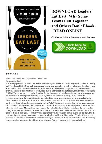 DOWNLOAD Leaders Eat Last Why Some Teams Pull Together and Others Don't Ebook  READ ONLINE