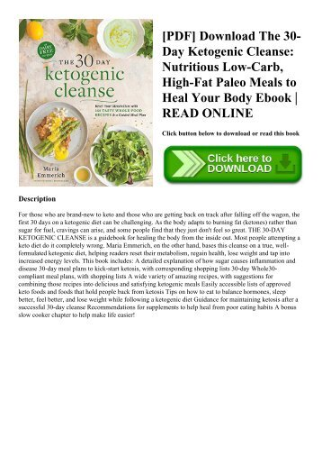 [PDF] Download The 30-Day Ketogenic Cleanse Nutritious Low-Carb  High-Fat Paleo Meals to Heal Your Body Ebook  READ ONLINE