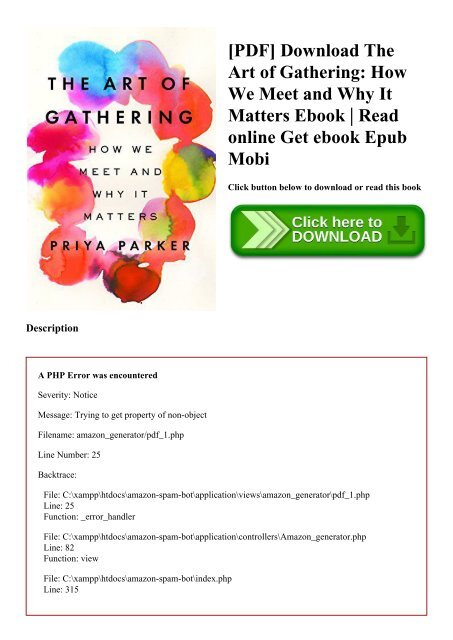 PDF] Download The Art of Gathering How We Meet and Why It