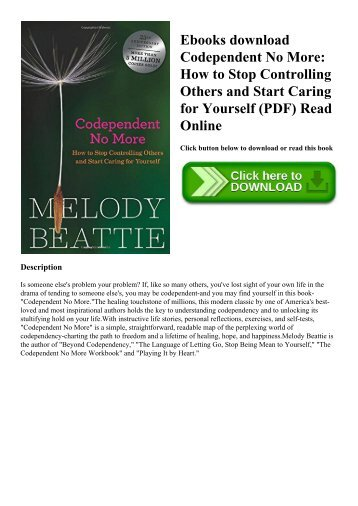 Ebooks download Codependent No More How to Stop Controlling Others and Start Caring for Yourself (PDF) Read Online