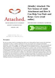 {Kindle} Attached The New Science of Adult Attachment and How It Can Help You Find--and Keep-- Love {read online}