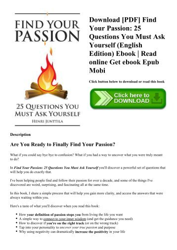 Download [PDF] Find Your Passion 25 Questions You Must Ask Yourself (English Edition) Ebook  Read online Get ebook Epub Mobi