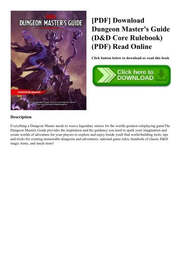 [PDF] Download Dungeon Master's Guide (D&D Core Rulebook) (PDF) Read Online