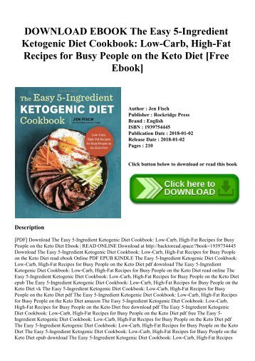 DOWNLOAD EBOOK The Easy 5-Ingredient Ketogenic Diet Cookbook Low-Carb  High-Fat Recipes for Busy People on the Keto Diet [Free Ebook]