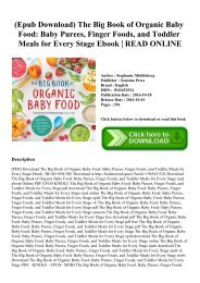 (Epub Download) The Big Book of Organic Baby Food Baby Purees  Finger Foods  and Toddler Meals for Every Stage Ebook  READ ONLINE