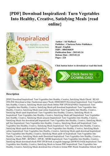 [PDF] Download Inspiralized Turn Vegetables Into Healthy  Creative  Satisfying Meals {read online}