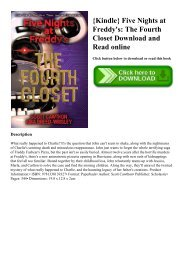 {Kindle} Five Nights at Freddy's The Fourth Closet Download and Read online