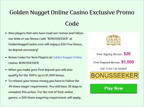 Golden Nugget Online Casino Exclusive Promo Code