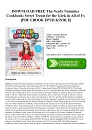 DOWNLOAD FREE The Nerdy Nummies Cookbook Sweet Treats for the Geek in All of Us [PDF EBOOK EPUB KINDLE]