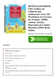 DOWNLOAD EBOOK CBT Toolbox for Children and Adolescents Over 220 Worksheets & Exercises for Trauma  ADHD  Autism  Anxiety  Depression & Conduct Disorders (PDF) Read Online