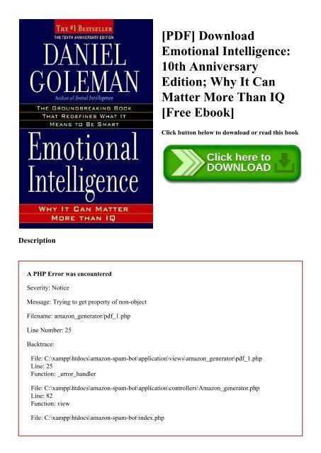 PDF] Download Emotional Intelligence 10th Anniversary Edition