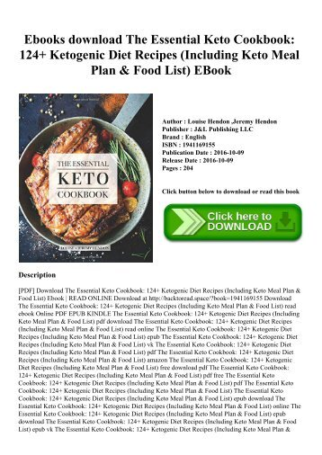 Ebooks download The Essential Keto Cookbook 124+ Ketogenic Diet Recipes (Including Keto Meal Plan & Food List) EBook