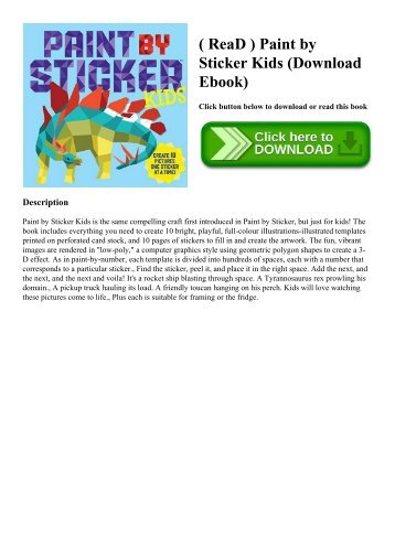 ( ReaD ) Paint by Sticker Kids (Download Ebook)