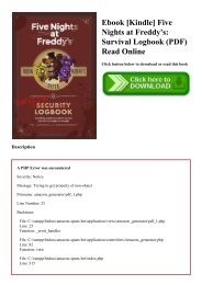 Ebook [Kindle] Five Nights at Freddy's Survival Logbook (PDF) Read Online