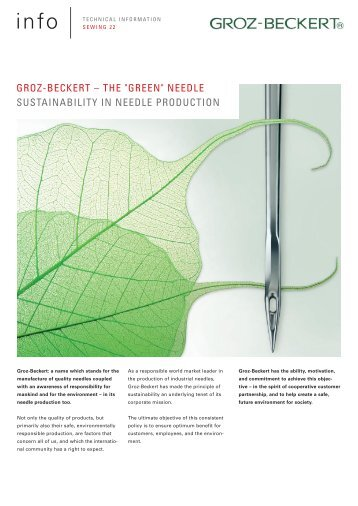 "GROZ-BECKERT – THE ""GREEN"" NEEDLE SUSTAINABILITY IN ..."