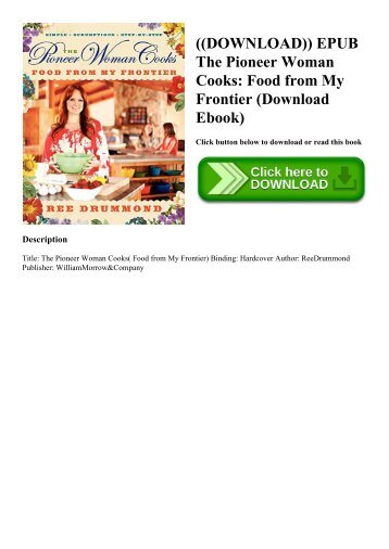 ((DOWNLOAD)) EPUB The Pioneer Woman Cooks Food from My Frontier (Download Ebook)