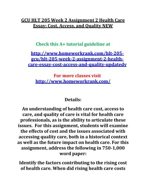 Gcu Hlt  Week  Assignment  Health Care Essay