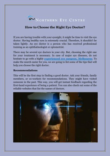 How to Choose the Right Eye Doctor
