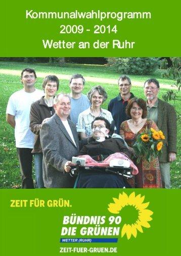Kommunalwahlprogramm 2009 - 2014 Wetter an der Ruhr