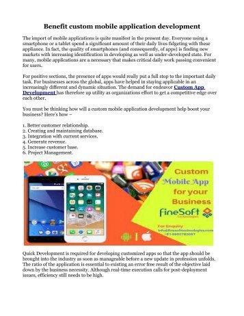 Benefit custom mobile application development