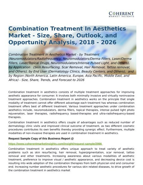 Combination Treatment In Aesthetics Market Forecast to 2026
