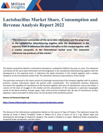 Lactobacillus Market Share, Consumption and Revenue Analysis Report 2022