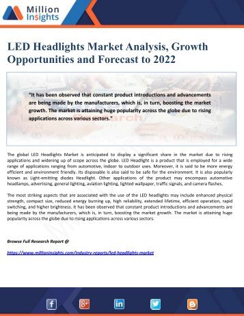 LED Headlights Market Analysis, Growth Opportunities and Forecast to 2022