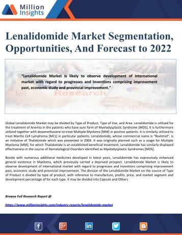 Lenalidomide Market Segmentation, Opportunities, And Forecast to 2022