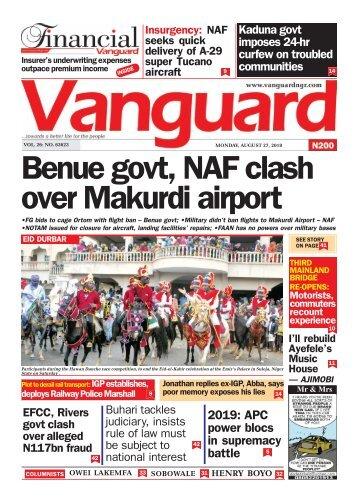 27082018 - Benue govt, NAF clash over Makurdi airport