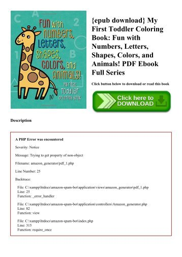 {epub download} My First Toddler Coloring Book Fun with Numbers  Letters  Shapes  Colors  and Animals! PDF Ebook Full Series