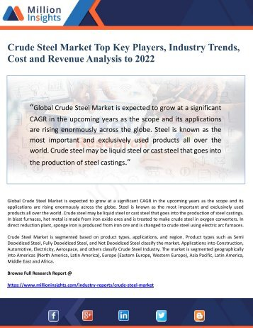 Crude Steel Market Top Key Players, Industry Trends, Cost and Revenue Analysis to 2022
